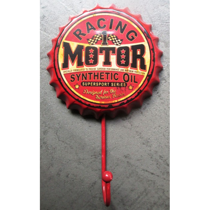 crochet patere capsule motor racing oil  18x10cm deco garage loft bar
