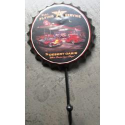 crochet patere capsule  flying service hot ro et mercury a flammes18x10cm deco garage loft bar