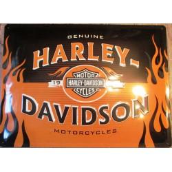plaque harley davidson noir et orange à flammes tole bombée emboutie deco biker