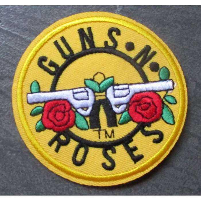 patch guns & roses jaune groupe rock ecusson thermocollant pistolets croisés