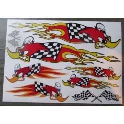 1 planche de stickers mr horsepower woody  woodpecker damier flammes