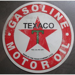 plaque texaco ronde blanche vieillt tole deco garage loft diner bar