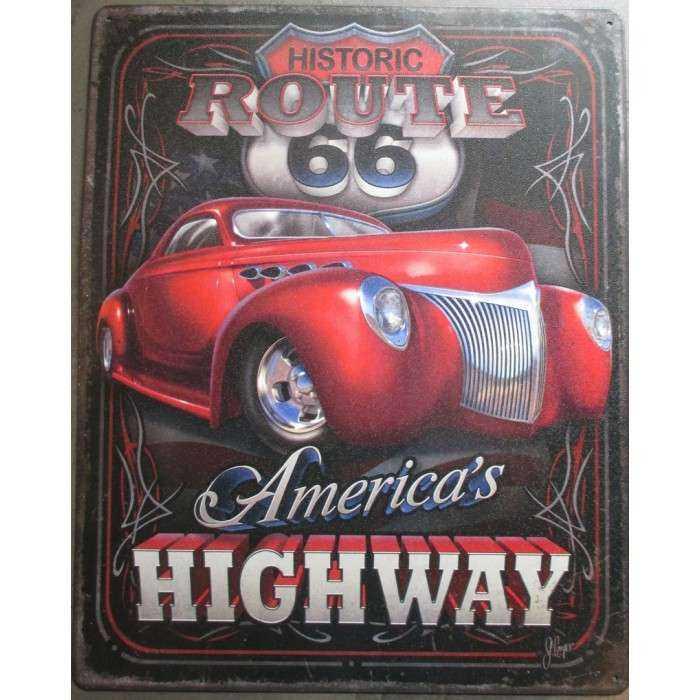 plaque america's highway hot rod tole pub deco garage loft diner