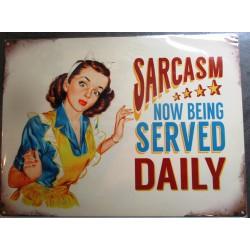 plaque pin up sarcasm tole affiche metal style rétro année 50 pub