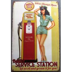 plaque pin up bettie page service staion pompe à essence tole sexy deco garage pub metal
