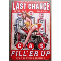 plaque pin up last chance filler up station pompe à essence tole sexy deco garage pub metal