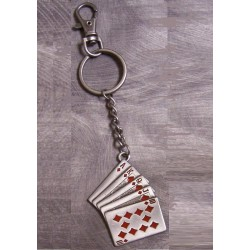 porte clé jeux de carte poker en metal auto moto usa   carreaux rouge
