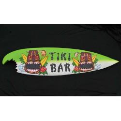 grande planche de surf bois tiki bar devoré par requin 100cm déco