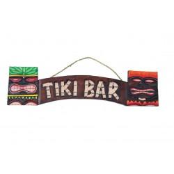 enseigne tiki bar avec 2 tiki en bois 56 cm deco hawaii usa