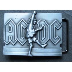 boucle de ceinture AC-DC  et guitare  couleur grise hard rock