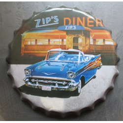 plaque capsule closed chevrolet bel air 1957 cabriolet 40cm tole deco metal diner bar loft