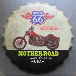 plaque capsule  moto mother road  logo route 66 40cm tole deco metal diner bar loft