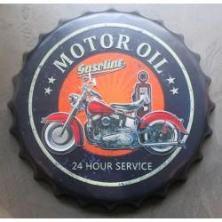 plaque capsule  moto motor oil  logo route 66 40cm tole deco metal diner bar loft