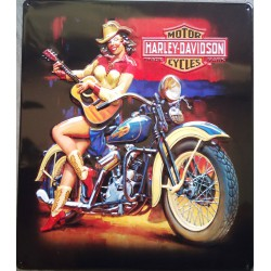 plaque Harley Davidson pin up et guitare usa tole deco garage biker