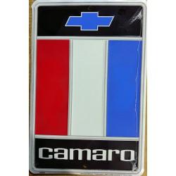 plaque chevrolet camaro  logo 30x20 tole rare déco garage  loft diner
