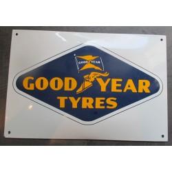 plaque emaillée bombée goodyear tyres pneu 37x25 cm chevrolet super service deco email tole  garage pub