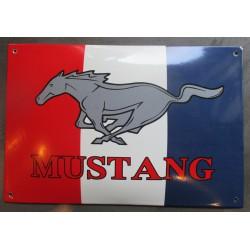 plaque emaillée ford mustang  bombée  bleu blanc rouge 37x25 cm  tole pub email