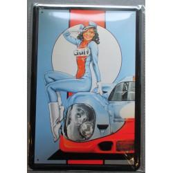 plaque pin up gulf brune et auto tole 30x20 cm deco  affiche pub garage