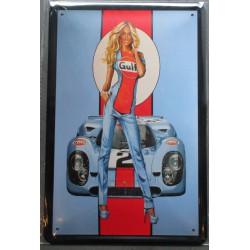 plaque pin up gulf blonde avec une auto tole 30x20 cm deco  affiche pub garage