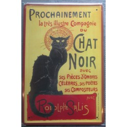 plaque compagnie du chat noir 30x20 cm deco  affiche cuisine  pub  loft