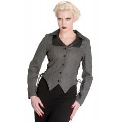veste grise taille M pin up rockabilly avec joile laçage noir hell bunny