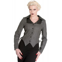veste grise taille XS pin up rockabilly avec joile laçage noir hell bunny