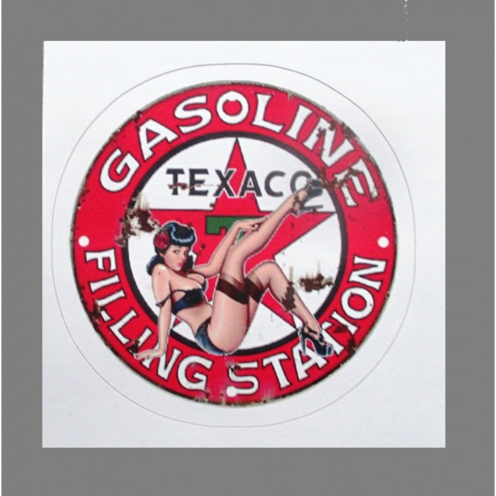 mini sticker pin up logo texaco jambe en l'air style retro annee 50