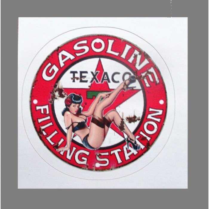 mini sticker pin up logo texaco jambe en l'air style retro annee 50