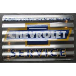 plaque chevrolet service  tole ondulé 45x30 rare déco garage  loft diner chevy