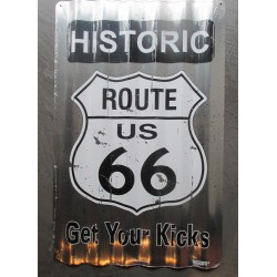 plaque historic route 66 tole ondulé 45x30 rare déco garage  loft diner  road sixty six