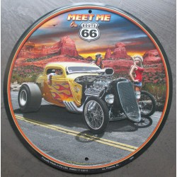 plaque hot rod flammes jaune meet me  rare déco garage  loft diner  road sixty six