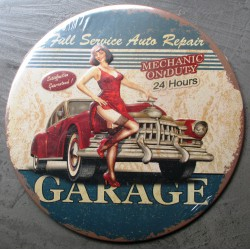 plaque full service auto repai pin up deco tole garage oil hot rod
