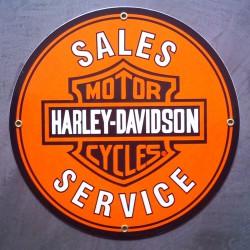 plaque emaillée harley davidson  29cm sales service  orange email