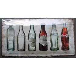 plaque coca cola 6 differentes bouteilles relief 50cm tole pub affiche