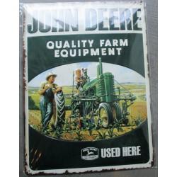 plaque john deere tracteur used here relief 40cm tole pub affiche