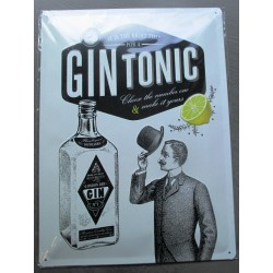 plaque cocktail gin tonic relief 40cm tole pub style affiche ancienne