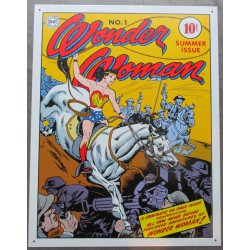 plaque super hero sexy  wonder woman à cheval tole affiche
