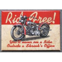 magnet 8x5.5 cm ride free moto style  americaine  deco garage cuisine bar diner loft frigo