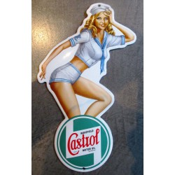 mini plaque emaillée pin up en habit de marin logo castrol motor oil tole email deco garage