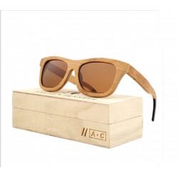 lunette de soleil bois véritable bambou verre marron