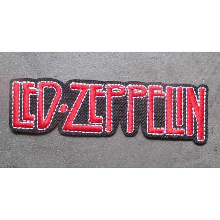 patch groupe hard rock le zeppelin inscription rouge 11.5x3 cm écusson  rectangulaire thermocollant pour veste blouson