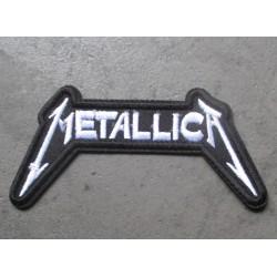 patch groupe hard rock metallica 9.5x5 cm  noir et blanc écusson  thermocollant pour veste blouson