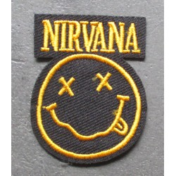 patch groupe pop rock grunge  nirvana  jaune  5x3.5cm  écusson  thermocollant  veste chemise