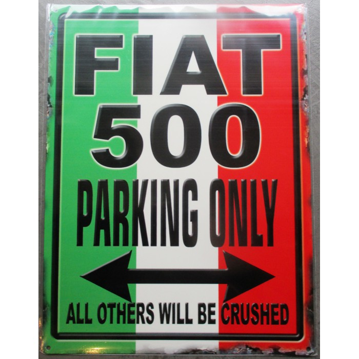 plaque pin up fiat 500 parking drapeau italien  tole deco affiche métal