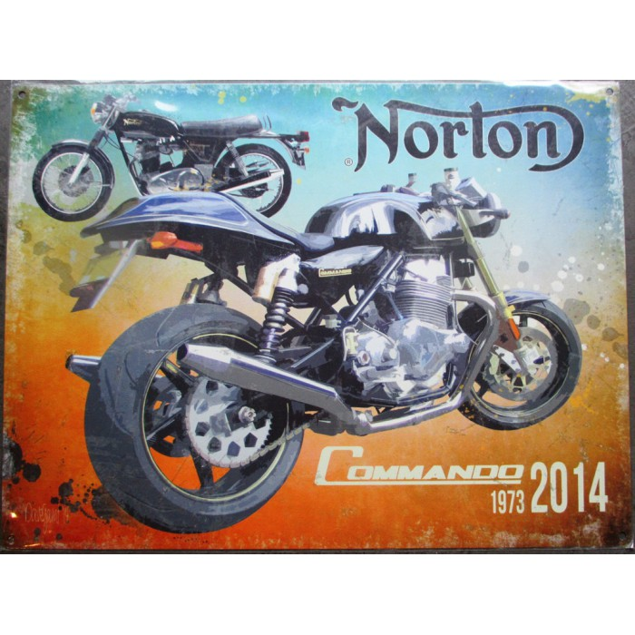 plaque moto norton commando 1973 2014 tole deco affiche métal