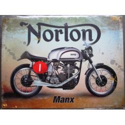 plaque moto norton manx tole deco affiche métal pub garage 40cm