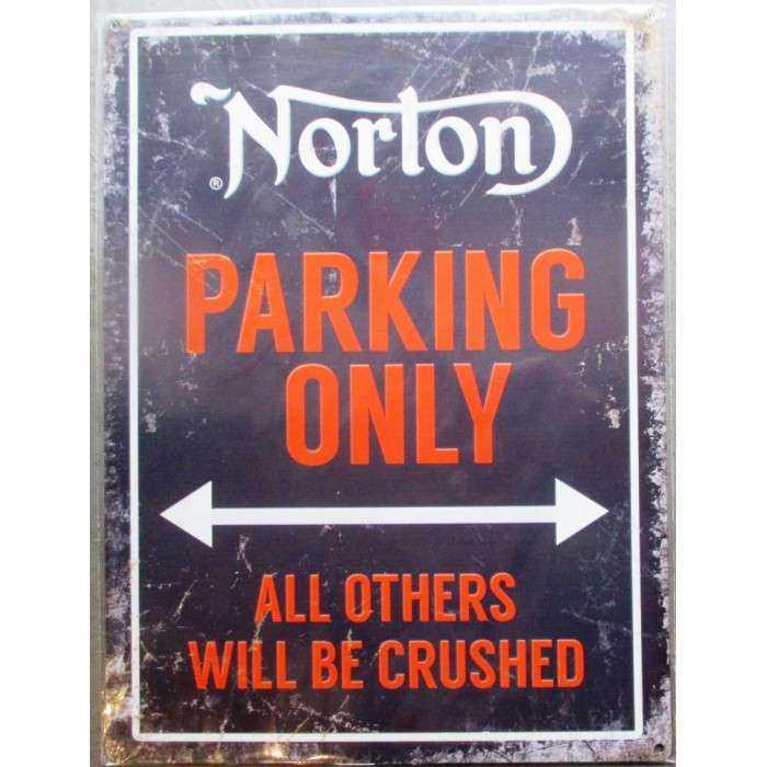 plaque moto norton parking only noire tole deco affiche métal pub garage 40cm