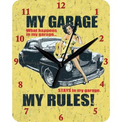 pendule metal hot rod noir et pin up  fond jaune my garage my rules horloge