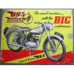 plaque moto bsa bantam tole pub métal déco garage motard