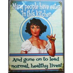 plaque pin up mangeant un hot dog in the kitchen tole pub métal déco garage
